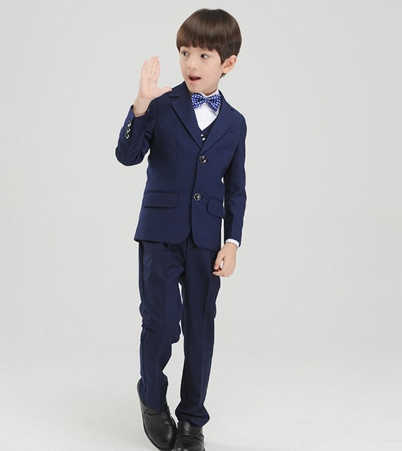 Custom Made Boy Tuxedos Notch Lapel Children Suit Navy Blue Kid Wedding/Prom Suits (Jacket+Vest+Pants+Tie +Shirt) NH14