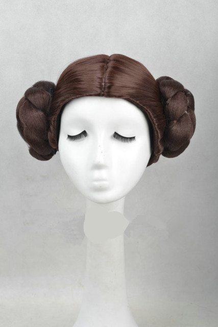 Star Wars Princess Leia Organa Solo Wig Short Brown Cosplay Hair With Two Buns cosplay costume 1