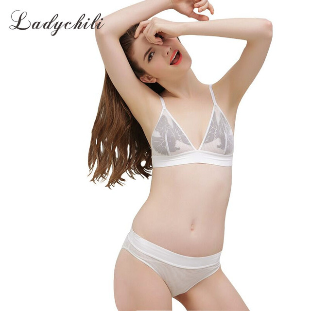 Ladychili Women Triang Cup Sexy UltraThin French Underwear Lingerie Set  Wireless No Push Up Seamless Bra and Brief Set N319 1610458e6
