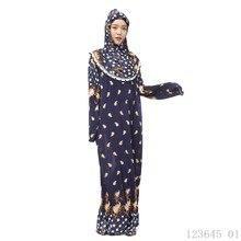 Plus Size Hijab + Abaya Muçulmano Vestido Summer Long Sleeve Ropa Mujer Musulman Turco Abayas Islâmico Jilbab Vestido Floral para mulheres