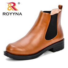 ROYYNA Women Ankle Boots 2018 Autumn Female Casual Shoes Woman Flat Fashion Platform Round Toe Synthetic Comfortable Shoe