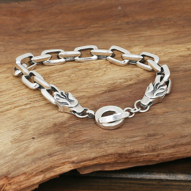 S925 men's fashion wholesale silver jewelry handmade vintage silver  double personality Party leading Bracelet
