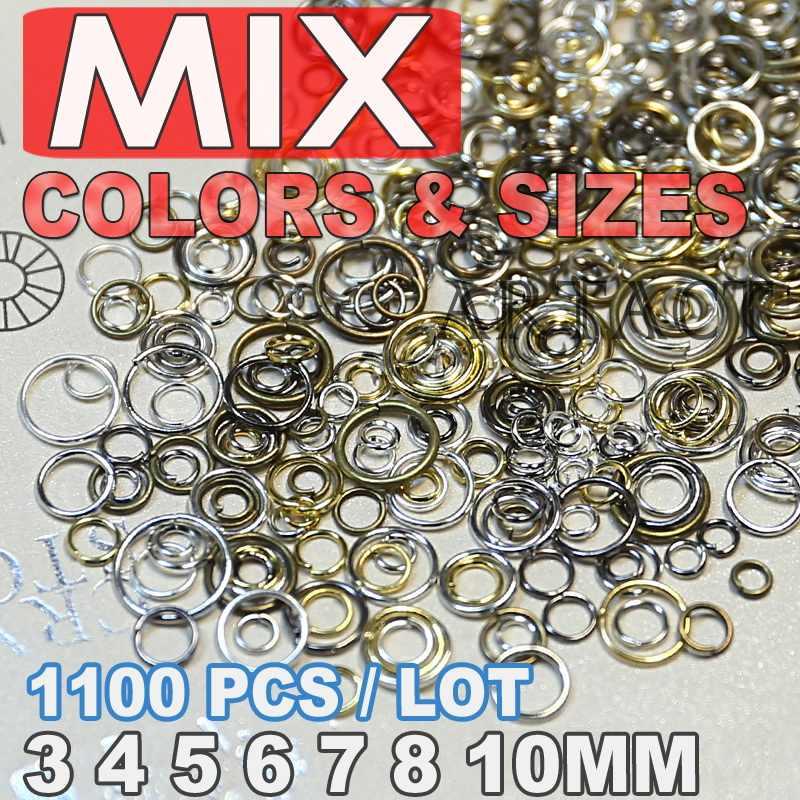 Mix rozmiary otwarty pierścień skoku 3mm 4mm 5mm 6mm 8mm link pętli srebrny złoty rod czarny brąz kolor dla DIY ocena biżuteria złącze