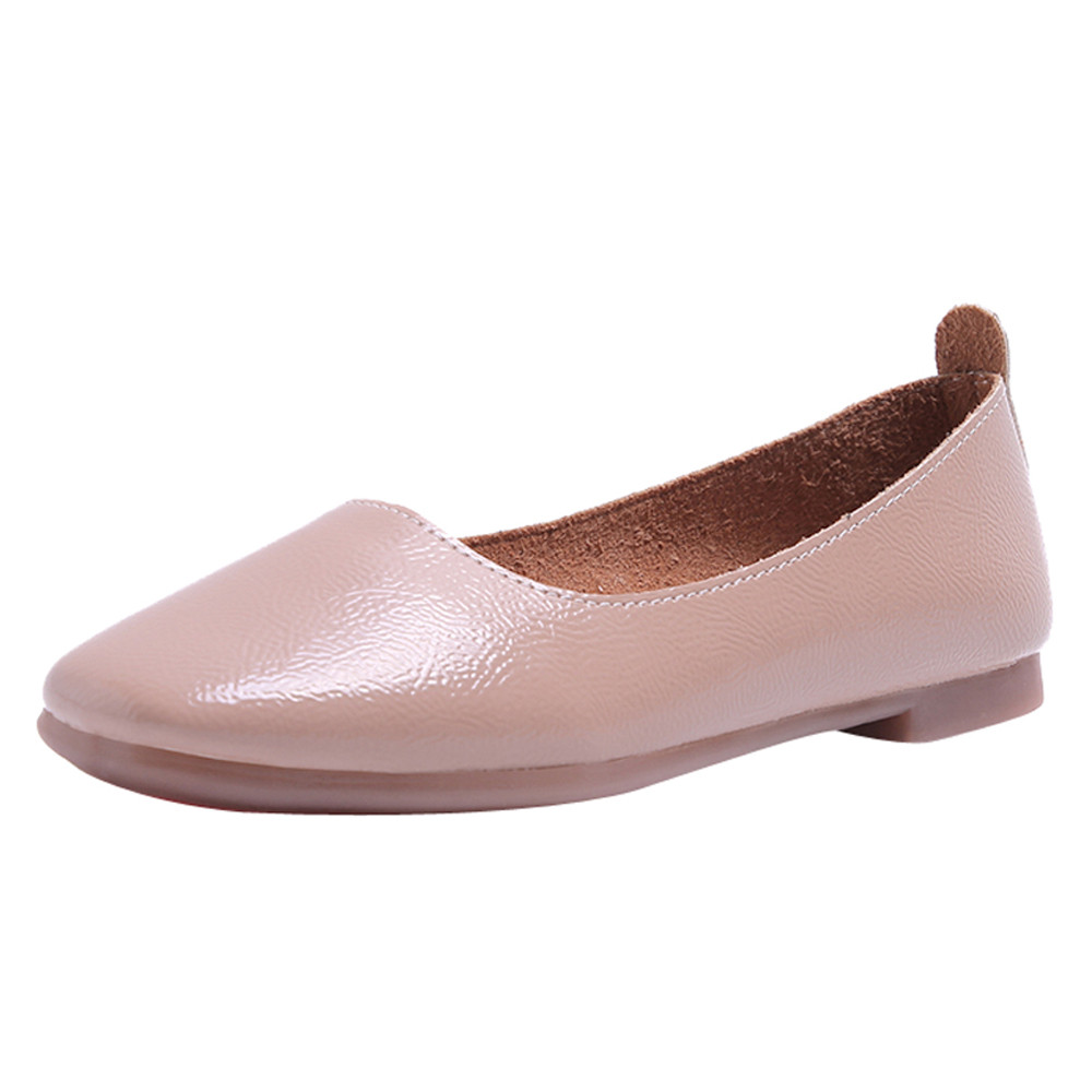 2018 Pu Patent Leather Shoes Woman Single Shoes Shallow Solid Color Shallow Square Toe  Spring Autumn Ballet Flats Shoes2018 Pu Patent Leather Shoes Woman Single Shoes Shallow Solid Color Shallow Square Toe  Spring Autumn Ballet Flats Shoes