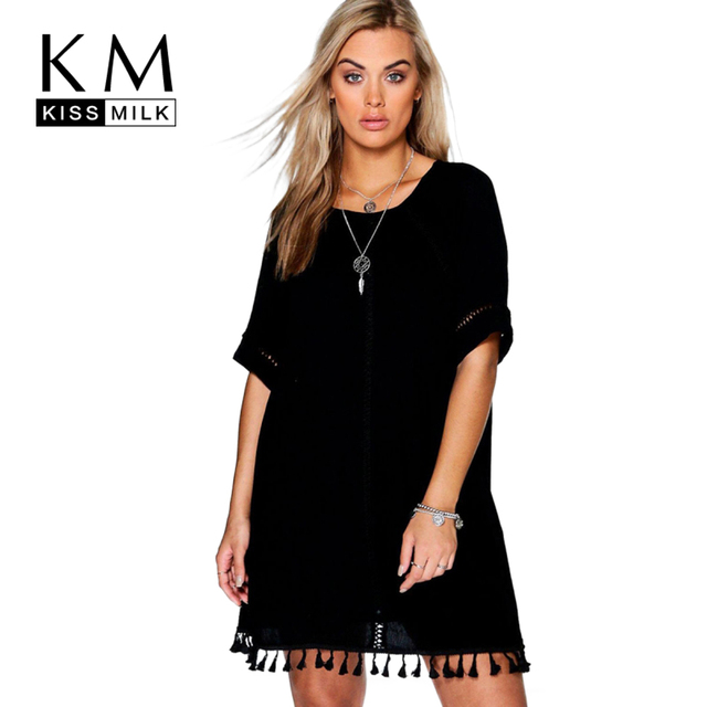0cc3b89a736df Kissmilk Plus Size New Fashion Women Clothing Basic Streetwear Lace Dress  O-Neck Short Sleeve