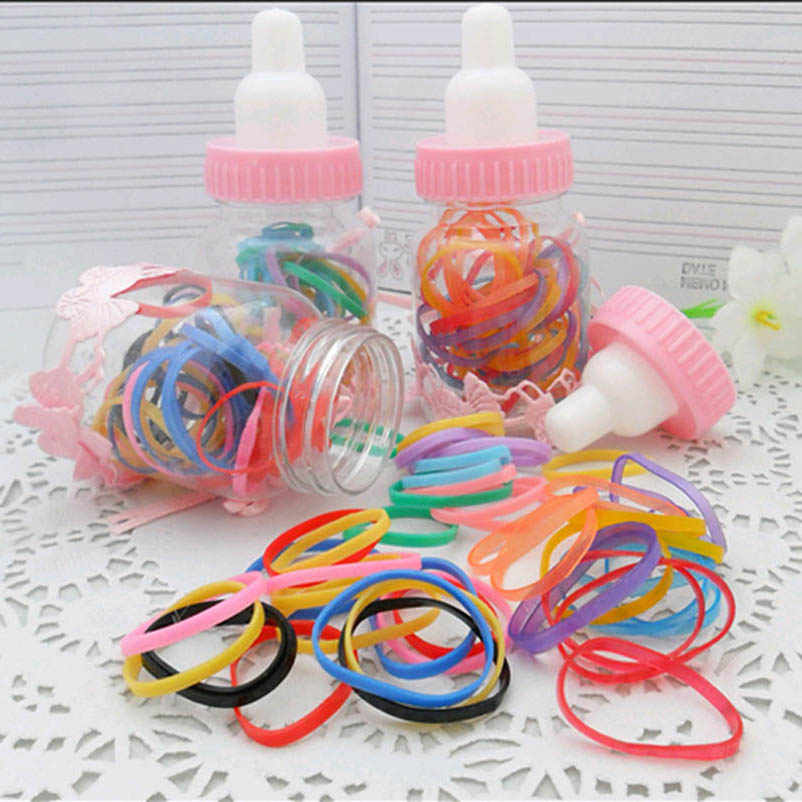 Black Blue Yellow Red Green Pink Elastic Hair Bands Ponytail Holders in Nursing Bottle Headwear Hair Accessories for Women&Kids