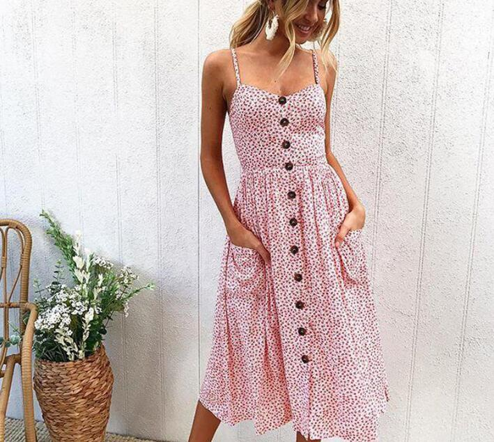 Striped button sexy casual 2018 New summer strap dress Long boho beach pockets women sundress vestidos Elegant daily dess female