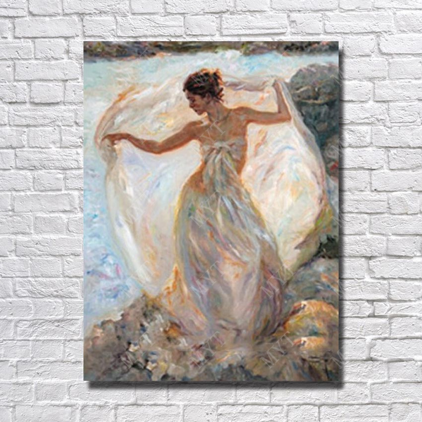 Beautiful Girl White Dress Oil Painting Home Decoration Living Room Wall  Hand Painted Wall Art Canvas Painting No Framed