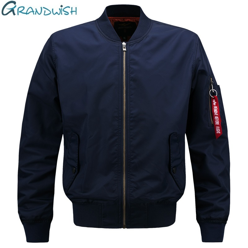 Grandwish Vår Pilot Bomber Jacka Män Patch Design Män Bomber Flight Pilot Jacka Coat Flight Bomber Jacket Män, PA900