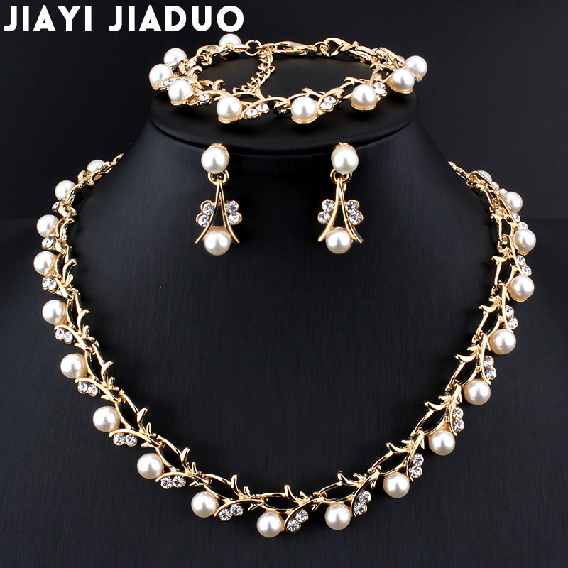 Jiayijiaduo Classic Imitation Pearl Necklace Gold Color Jewelry
