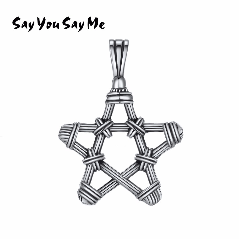 925 Sterling Silver Star Pendant Necklaces Retro Classic Pendants Wholesale Best Gifts 2018 New Arrival You Me
