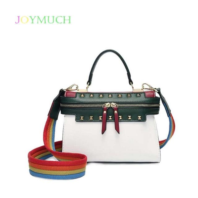 Elegant fashion 2018 new trendy fashion handbags simple wild rainbow  broadband Korean winter Messenger bag 30c9b41722