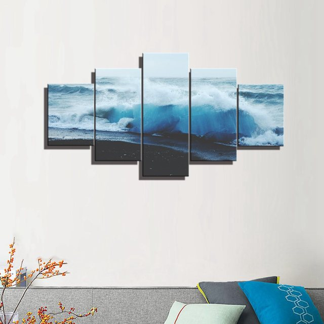 Rough Sea Wall Art Seascape and Landscape Poster and Print Canvas ...