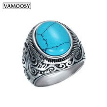 цена на VAMOOSY 2018 Vintage 316L Titanium Stainless Steel Ancient silver Gem Stone carving Rings for women Female men BOHO Ring jewelry