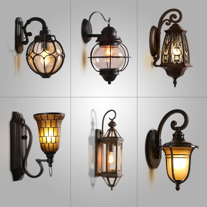 Vintage iron glass coffee aisle European American style villa balcony corridor stair lamp lantern