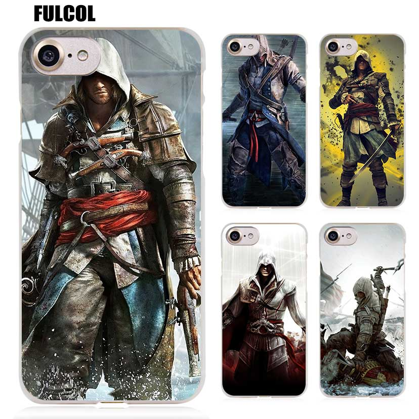 Galleria fotografica Fulcol <font><b>Assassins</b></font> <font><b>Creed</b></font> IV <font><b>Black</b></font> <font><b>Flag</b></font> Transparent Patterned Hard Cover for iphone 5s SE 6s plus 7s plus 8 Ten X case