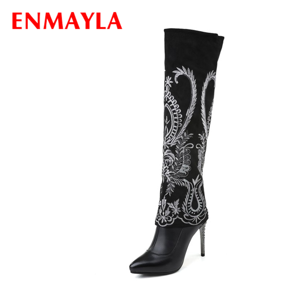 ENMAYLA Winter Fashion Bling Stiletto Heels Long Boots for Women Leather Pointed Toe Over the Knee Boots Black Shoes Woman enmayla women high heels platform bling knee boots winter pointed toe shoes woman red black long boots