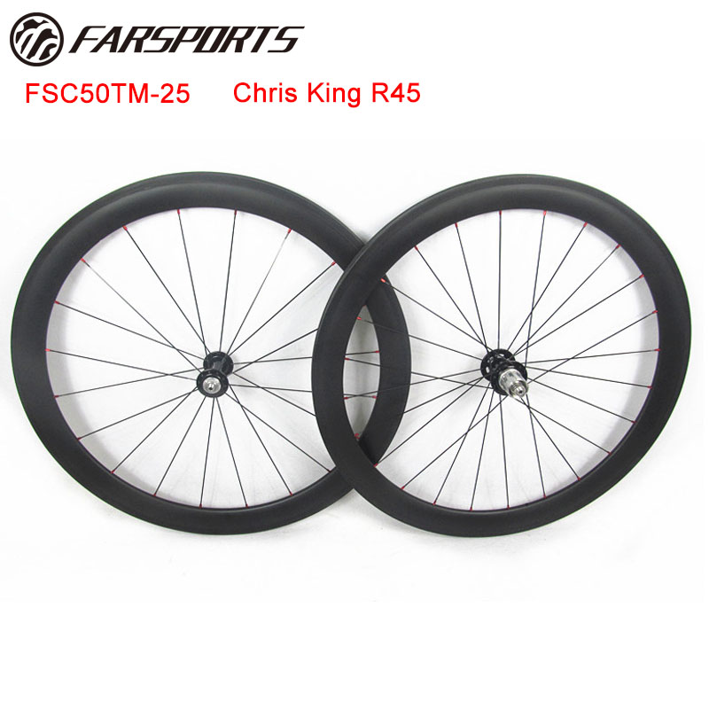 Farsports tubular full carbon wheelsets 50mm deep x 25mm wide for road bicycle, 20H/24H spoke holes Matte finish wheelsets 700C