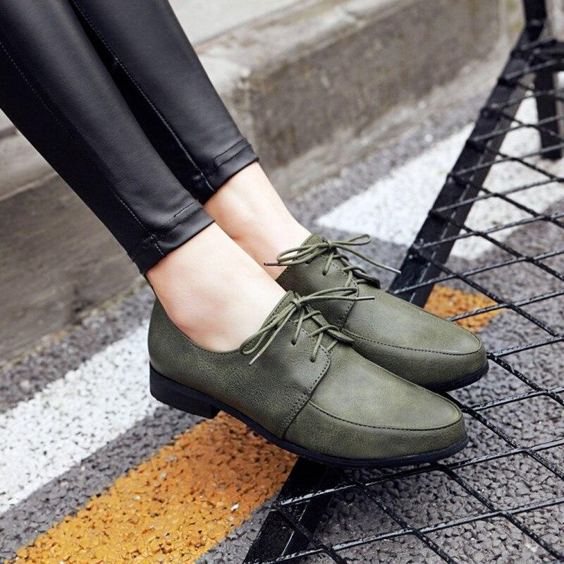 Chaussures Casual 50 Cuir as Femmes Dentelle Bout 34 Automne Plus Et En Rond As Rétro up Pour Taille Printemps Oxford Photo Photo Mocassins Souple La twUqqn7X