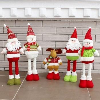 Natal Santa Claus Salju Rusa Merenggang Teleskopik Boneka Dekorasi Xmas Pohon Menggantung Hiasan Liontin 2018 Baru