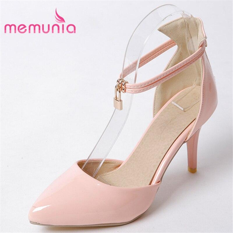 MEMUNIA 2018 hot sale new arrive high heels sandals women fashion pointed toe ladies sweet summer shoes zipper все цены