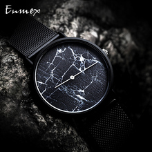 2019 Enmex creative  wristwatch Ultrathin case black Marble face casual Stainless steel fashion Stylish clock quartz watch