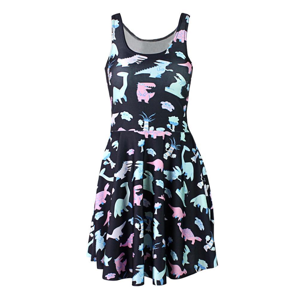 Fashion 1131 cheap Women 3D printing cartoon dinosaur prints elastic summer sexy Girl skater one-piece vest pleated dress