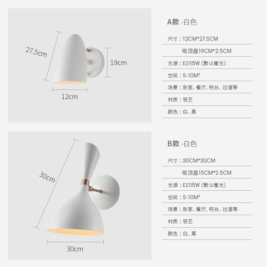 Luz moderno Design de Metal Abajur Lâmpada de Parede Levou E27 Arandela Industrial Loft Bed Luz Espelho Do Banheiro Lâmpada de Cabeceira Preta - 4