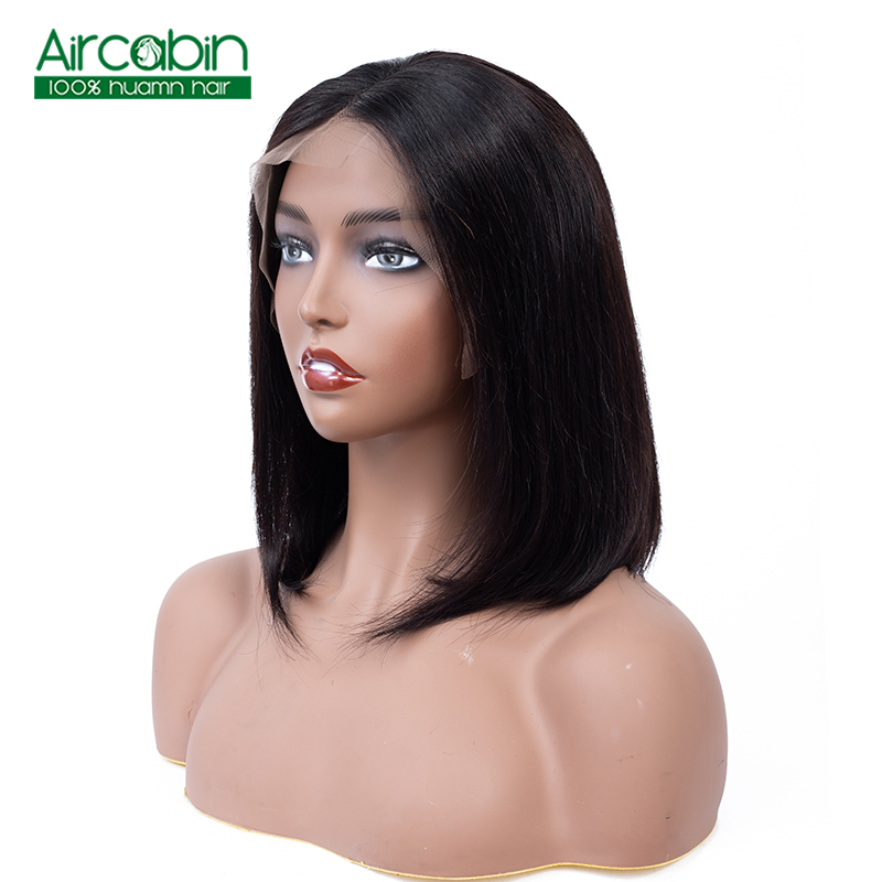 Aircabin 13x4 Lace Front Human Hair Wigs Bob Lace Front Wigs Brazilian Remy Hair Bob Wigs pre plucked baby hair For Black Women in Human Hair Lace Wigs from Hair Extensions Wigs