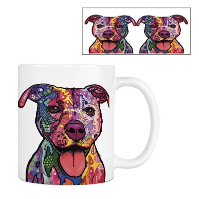 Pitbull Papillon Coffee Mugs Funny Dog