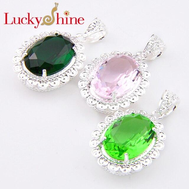 Luckyshine Bulk Mix Color 3pcs Florid Dark Green Created Quartz Silver Plated Pendants Russia Usa Canada