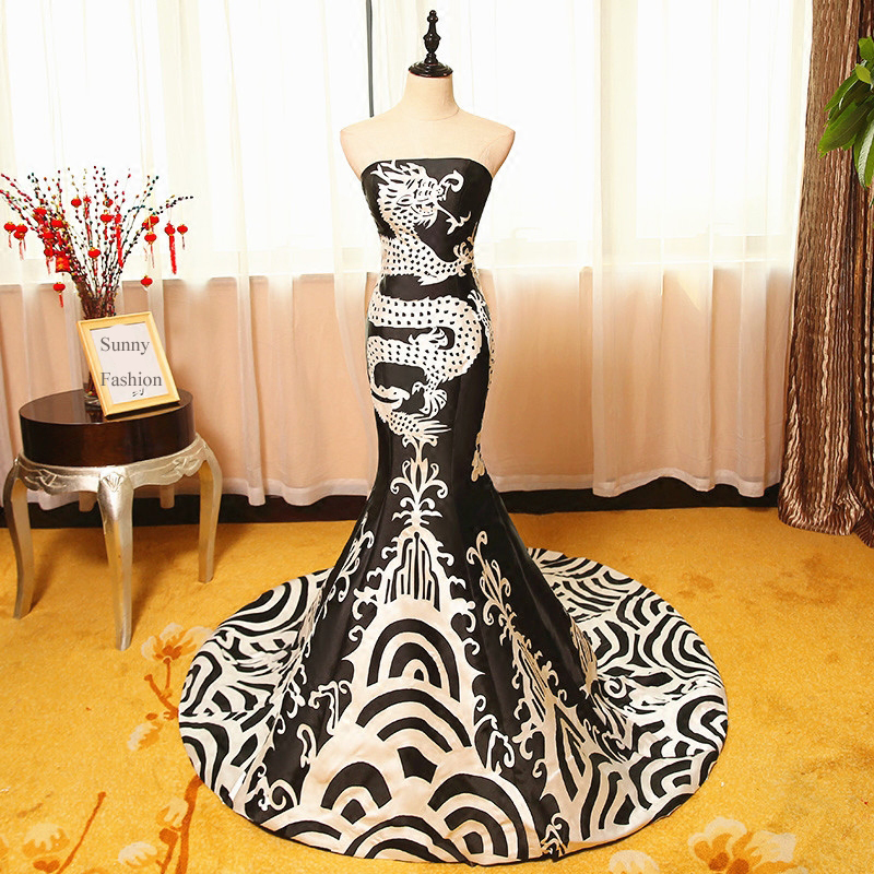 Blanc Custom 2018 Bustier Sirène Robe De Et Personnalisée Gratuite Make Robes Faire Chinois Festa Dragon Noir Livraison Soirée raxaqnfE