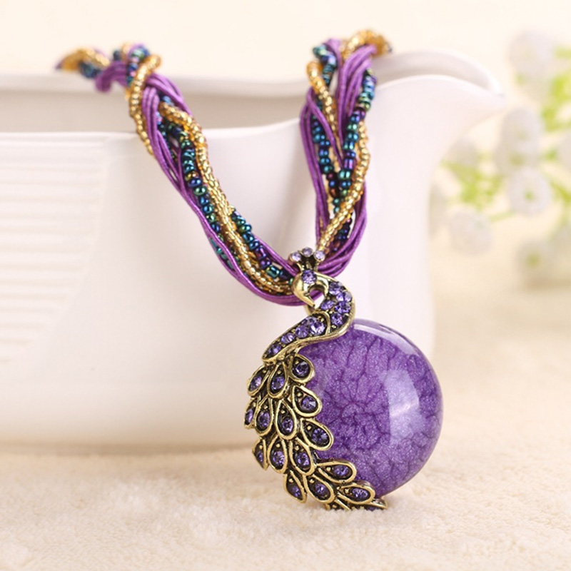 Cindiry Для женщин Ожерелья для мужчин женский ключицы короткой цепи Мода камень Подвески павлин украшения грубой Цепочки и ожерелья P3