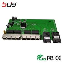 POE Reverse switch board fiber media converter with 2SC + 8 10/100/1000Mbps RJ45 Ethernet ports reverso optical