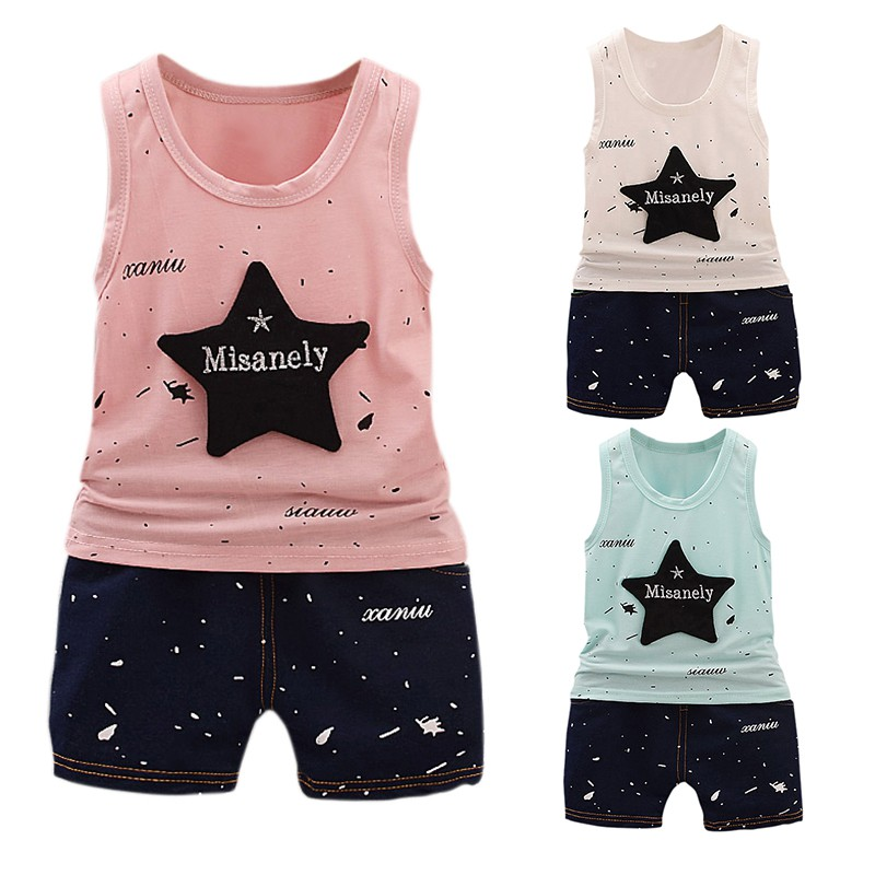 Baby boy girl clothing set new children's small star casual explosion models sleeveless vest shorts suit 2017 new pattern small children s garment baby twinset summer motion leisure time digital vest shorts basketball suit