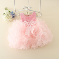 Good Quality High Grade 2017 New Summer Girls Kid Beaded Bow Tutu Dress Comfortable Cute Baby