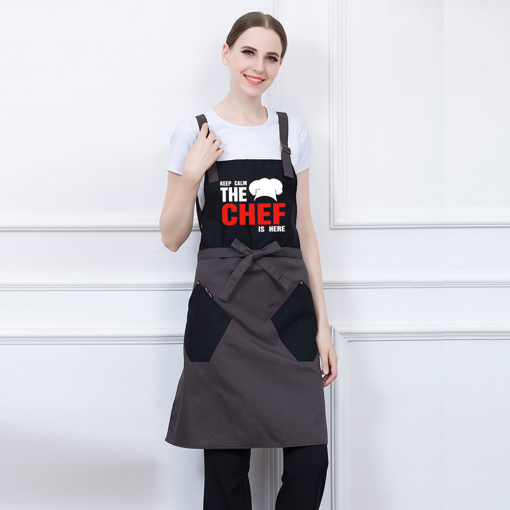 Men Women Customizable Logo Halter Neck Restaurant Hotel Cafe Bakery Kitchen Chef Waiter Waitress Cook Workwear Aprons Uniforms Comfortable And Easy To Wear Work Wear & Uniforms