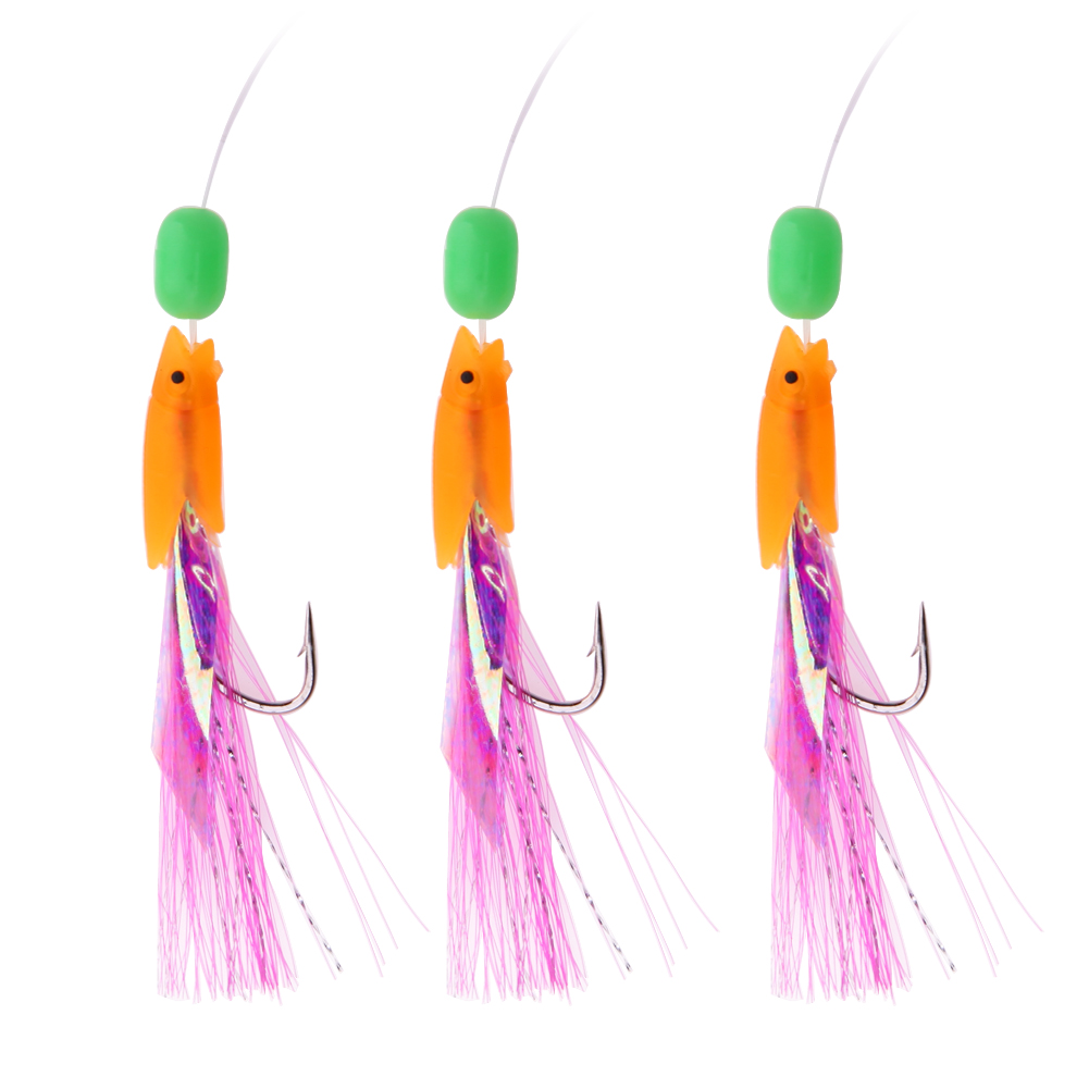 3Pcs Sabiki Soft Fishing Lure Rigs Bait Jigs Luminous Lure Saltwater Hairy Hook Rigging for Herring Fishing Skin Tinsel Feathers 10pcs 7 5cm soft lure silicone tiddler bait fluke fish fishing saltwater minnow spoon jigs fishing hooks