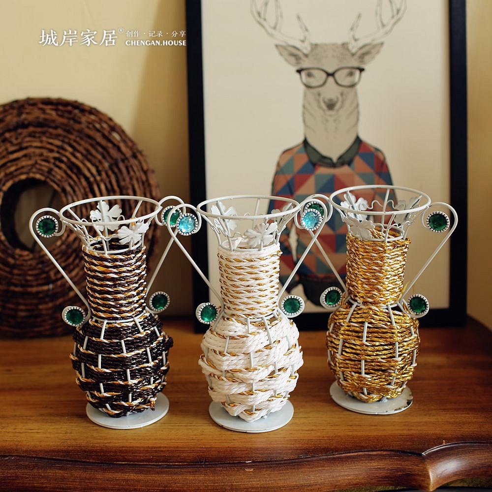 estilo de pas de amrica de mesa floreros tejidas a mano simulacin flores secas florero jarrones