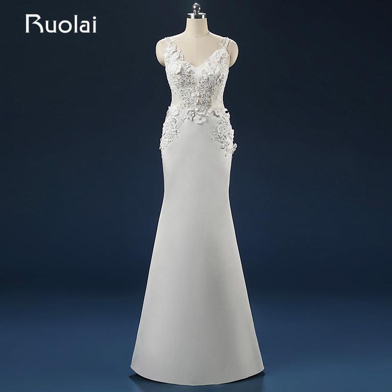 Elegant 2016 Real Picture Scoop Handmade Flowers Appliqued Sequins font b Wedding b font Dresses Floor