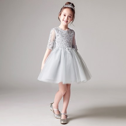 24978321327d Glizt Sequin Girl Pageant Evening Gowns Half Sleeve Gray Tulle Flower Girl  Dresses For Wedding Kids First Communion Dresses