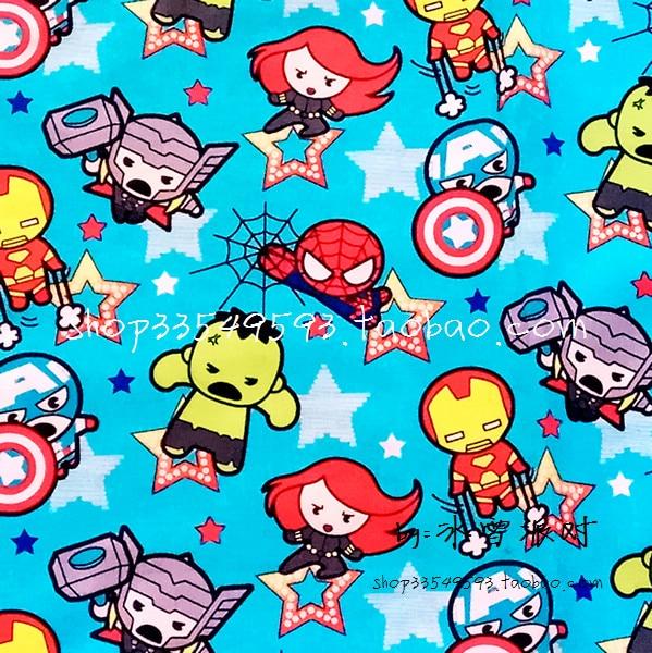 140cm de largura marvel super hero os avengers montar tecido de algodão azul para roupas de bebê menino hometextile capa de almofada DIY-BK488