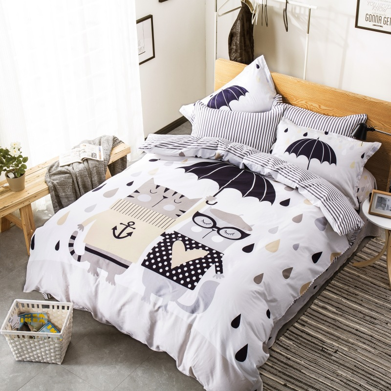 100% Cotton Cartoon Bedding Set Boho Fashion Duvet Cover Set Cute Dog Rabbit Pig Cat Printed Bed Sheet Bed Linen Twin Queen Size