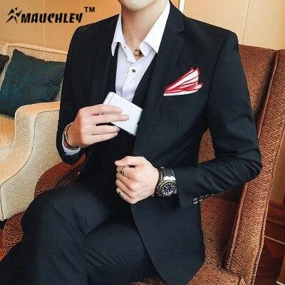 MAUCHLEY Cultivando Coreano Casual de Negocios Vestido de Traje Slim Fit Esmoquin Trajes de Hombres de Negocios Formal Vestido de Traje de Moda 2017
