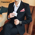 MAUCHLEY Korean Cultivating Business Casual Dress Suits Men Business Suit Sets Slim Fit Tuxedo Formal Fashion Dress Suit 2017