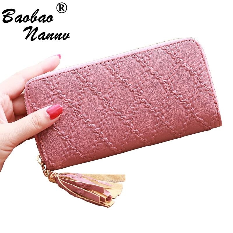 Coin Purse Wallets Card-Holder Money-Bag Clutch Vintage Fashion Women Long Plaid Tassel