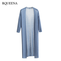 Rqueena Simple Long Cardigan Thin Knitted Women Summer Cardigans 2017 Ladies Loose Sunscreen Knit Casual Long