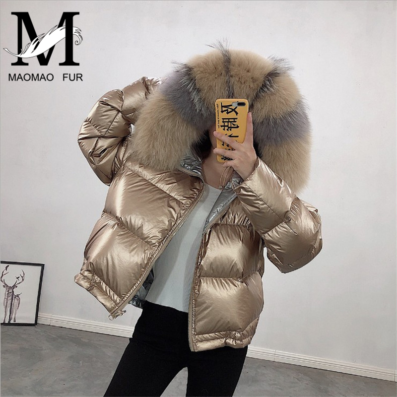 Hooded Big Fur Collar   Down     Coat   Winter Thick Warm Women's Duck   Down   Feather Jacket Double-face Hot Sell 90%   Down   Overcoat