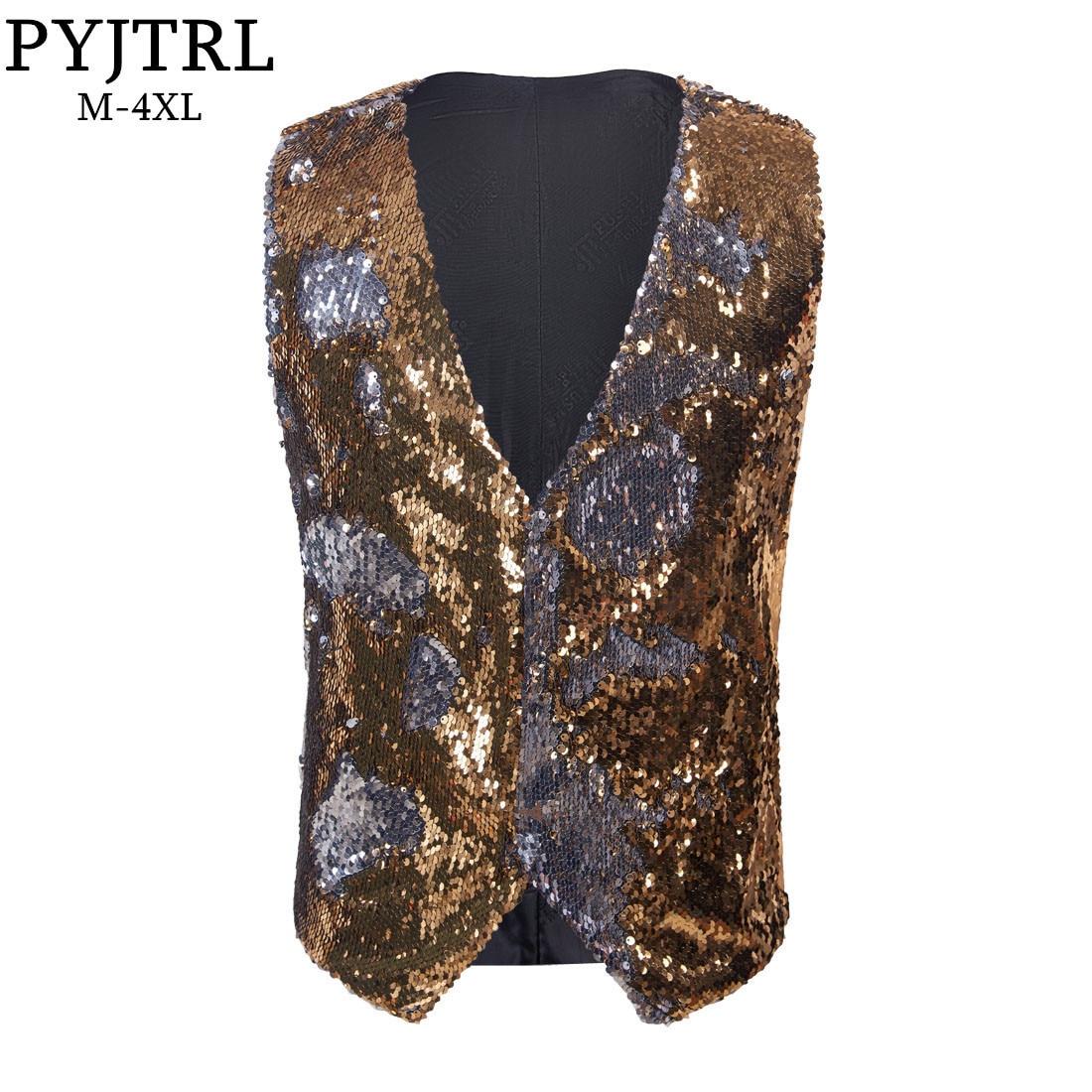 PYJTRL New Mens Stylish Double-sided Sequins Waistcoat Gold Silver Red Purple Blue Black Pink Paillette Vest DJ Singers Costume