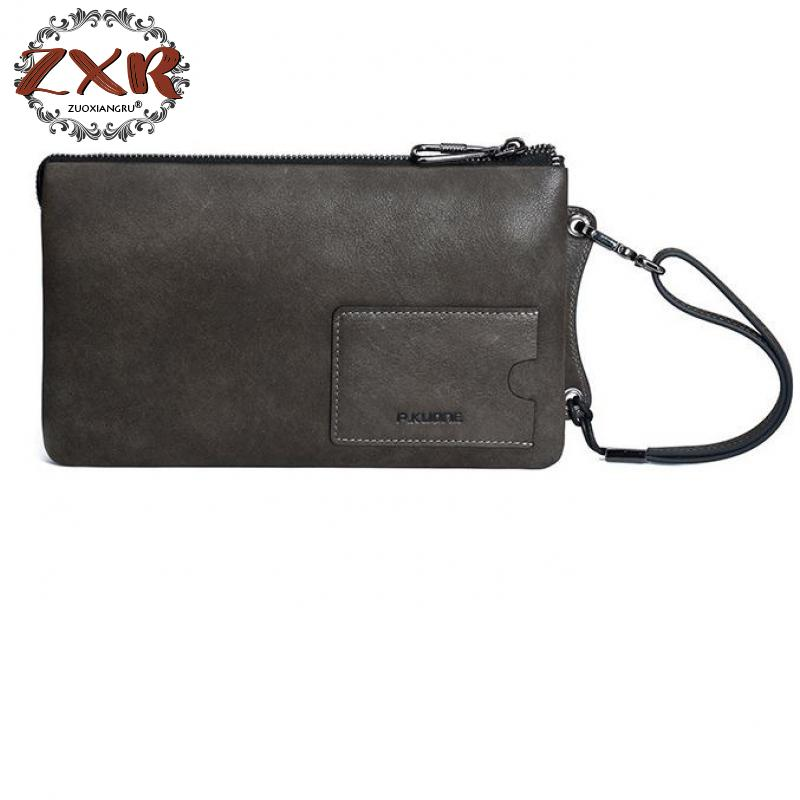 2018 Europe And The United States New Fashion Men's Handbags Leather Clutch Bag First Layer Of Leather Handbags цена